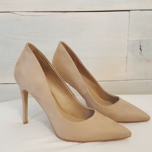 Beige faux suede pumps
